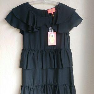 Manoush FleurTiered Dress Hammered Black silk Sz 6